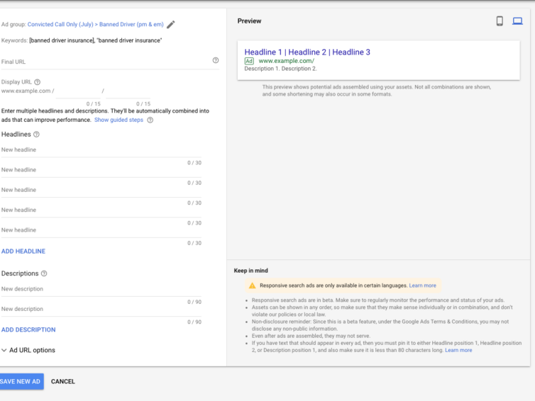 What are Google's Responsive Search Ads?